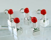 10 Silver Plated Enamel 3D Lipstick Charms Pendants (ID 8s00053-1s)