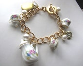 Porcelain Time for Tea Bracelet With Locket and Pearls