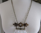 Vintage Drawer Pull Necklace with Clear Chandelier Drops. As featured in Country Living Magazine.