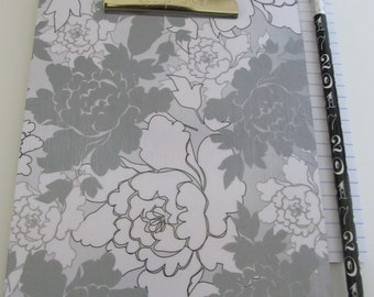 SALE, SALE, SALE!  Small Decorative Clipboard--Grey and White Rose, Feather