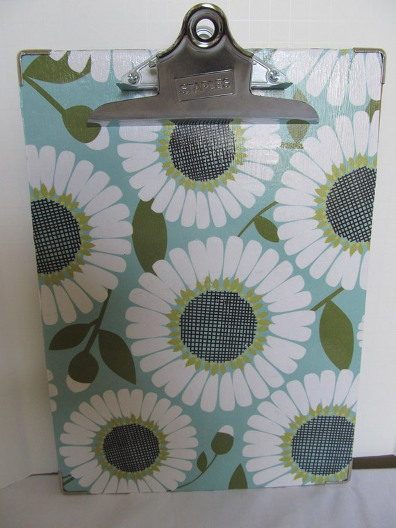 Lg. Decorative Clipboard--Teal, Green, White-Daisy and Dots