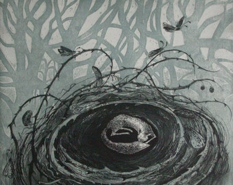 Fox-nest etching by Flora McLachlan, trees, thorns, nest, fox, feathers, silhouette, moths, sleeping