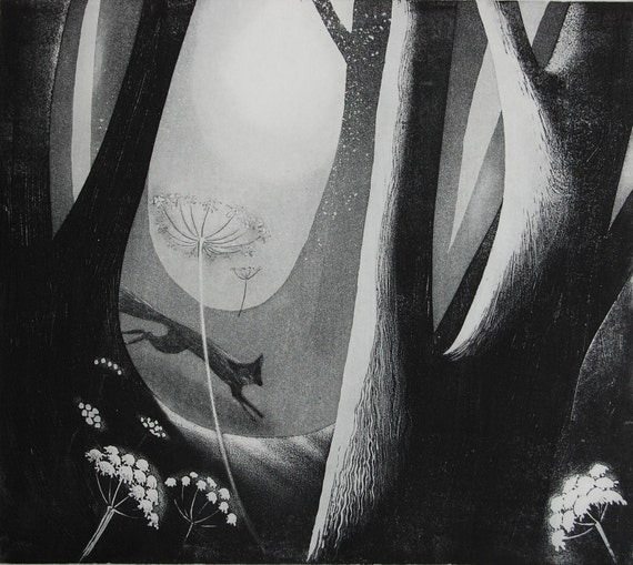 Foxfire etching by Flora McLachlan, leaping fox, woodland, flowers, night, moonlight, umbellifers