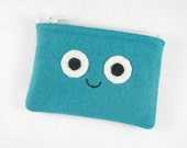 Green Smiley Face Tiny Treasures Mini Felt Zipper Pouch