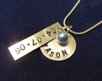 Two Disc Personalized Hand Stamped Necklace with Swarovski Pearl