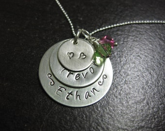 Three Disc - Nickel Silver Personalized Hand Stamped Necklace