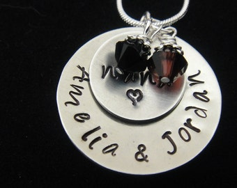 Nana - Personalized Two Disc Hand Stamped Necklace