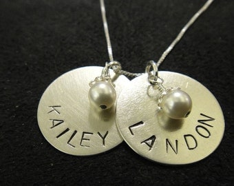 Two Names - Hand Stamped Personalized Necklace
