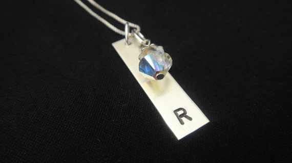 Intial - Sterling Silver Rectangle Personalized Hand Stamped Necklace with Swarovski Crystal