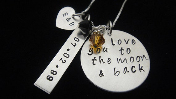 Hand Stamped Jewelry - I Love You To The Moon and Back - Three Disc Sterling Silver Personalized Hand Stamped Necklace