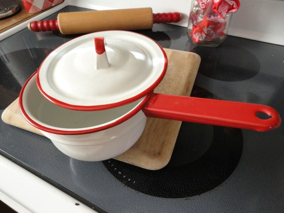 Red and white farmhouse enamel pot and lid
