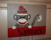 Monkey Canvas Painting Personalized Nursery SOCK MONKEY