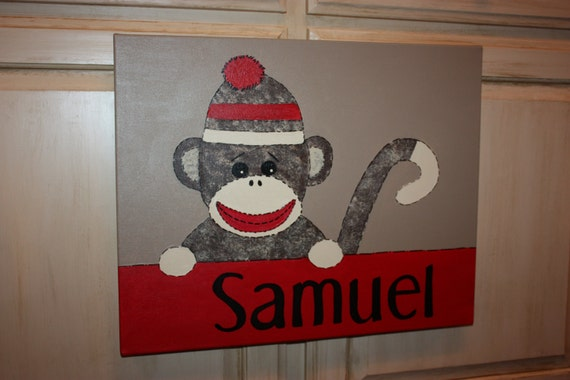 Monkey Canvas Painting Personalized Nursery SOCK MONKEY