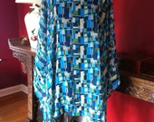 Beach Poncho - Blue Green Geo Print Womens Swimsuit Cover Up