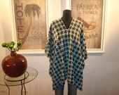 Mint and Brown Houndstooth Fleece  Belle Poncho