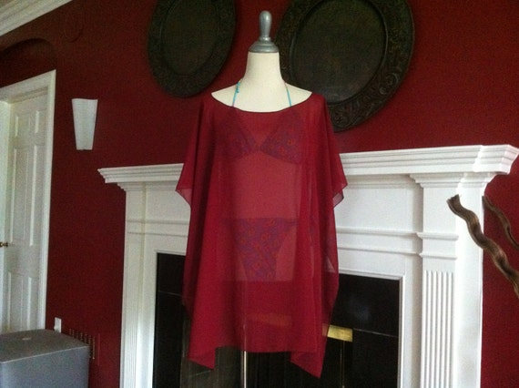 Beach Poncho  Caftan Tunic Swimsuit Cover Up  Burgundy Chiffon