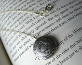 Antique Silver Round Custom Locket Photo Necklace with Sterling Silver Chain
