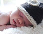 Undyed Alpaca Baby Hat with Flower
