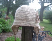 Baby Hat with Brown Flower in Undyed Alpaca with Earflaps