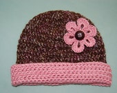 Toddler Alpaca Hat, size 2T-4T brown with pink flower motif