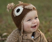 Owl Hat for Baby in Undyed Alpaca size 6-12 months
