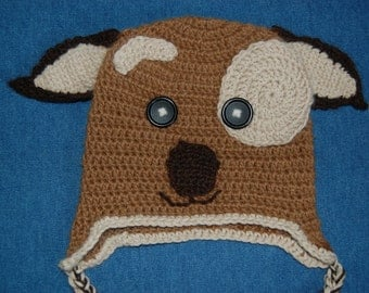 Puppy Dog Earflap Hat for Baby in Undyed Alpaca, size 6-12 months