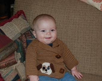 Baby Sweater with Puppy Motif in Undyed Alpaca size 9-12 months