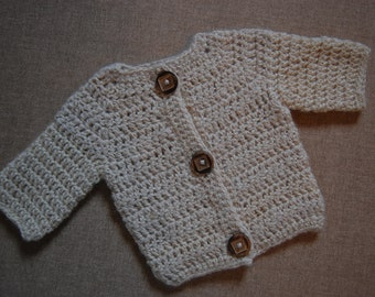 Baby Sweater Natural Undyed Alpaca size Newborn cream colored