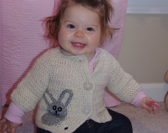 Natural Undyed Alpaca Baby Cardigan Sweater with Bunny Motif