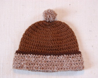 Brown Hat in Natural Undyed Alpaca size 12-18 months with pom pom