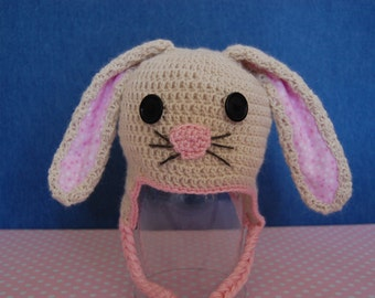 Bunny Rabbit Hat for Baby Girl in Alpaca with Pink Trim size Newborn to 3 Months
