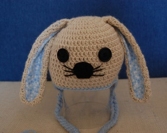 Bunny Rabbit Hat for Baby Boy in Alpaca with Blue Trim size Newborn to 3 Months