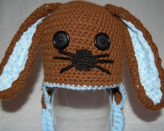 Brown Bunny Rabbit Hat for Baby Boy in Alpaca with Blue Trim size Newborn to 3 Months