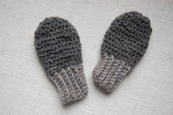Thumbless Gray Baby Mittens in Natural Undyed Alpaca size 6-18 months Eco Friendly
