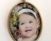 Photo pendant OVAL custom personalized charm for necklace or bracelet Bronze