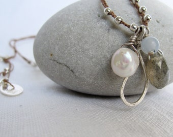 Dainty Necklace Beaded Pearl Labradorite Angelite Sterling Silver on Braided Silk Cord. Gift for her.
