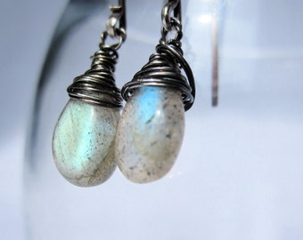 Earrings Dangle Labradorite and Oxidized Sterling Silver. Gift for her.