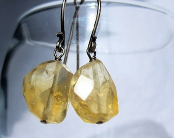 Earrings Citrine and Oxidized Sterling Silver. Gift for her.