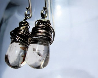 Earrings Dangle Smoky Quartz and Oxidized Sterling Silver.