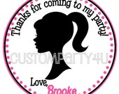Vintage Silhouette Barbie Doll Favor Tag