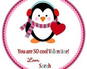So Cool- Penguin Valentine's Favor Tags or Stickers - Boy or Girl Colors Available