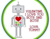 Robot Valentine's Favor Tags or Stickers