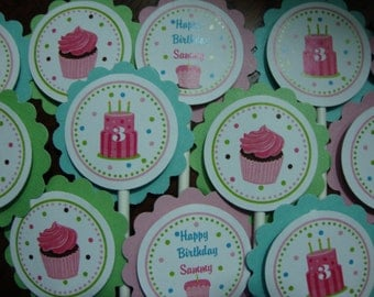 Cupcake and Cake Birthday Cupcake Toppers