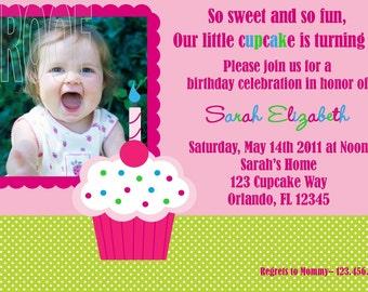 Girly Cupcake Photo Invitations