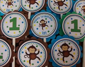 Monkey Boy or Girl Custom Birthday Cupcake Toppers