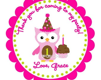 Girl Owl with Birthday Hat Favor Tags