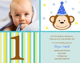Custom Modern Monkey Photo Birthday Invitation