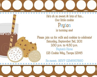 Milk and Cookies Invitations for Boys and Girls