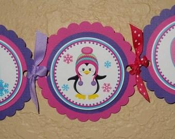Pretty Penguin Winter ONEderland High Chair Banner- Girl Design