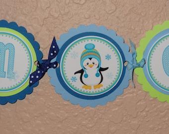 Penguin Winter ONEderland High Chair Banner for Boys
